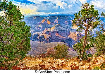 自然, アリゾナ, -, 南, 驚かせること, 地質, 峡谷, 形成, 壮大, rim.