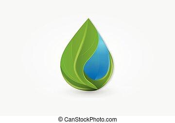 自然, カード, 生物学, ロゴ, 健康, 低下, ビジネス, 葉, 水