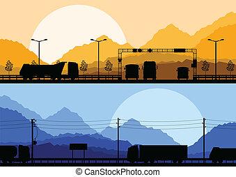自然, ベクトル, トラック, 風景, 背景, 野生, ハイウェー