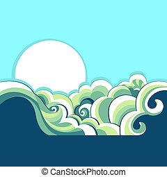 自然, ベクトル, 太陽, 海景, 青, デザイン, イラスト, 海, バックグラウンド。