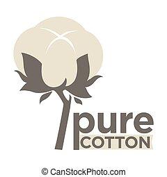 自然, ラベル, パーセント, 織物, タグ, 純粋, ロゴ, 100, ∥あるいは∥, 綿