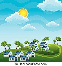 自然, 丘, エネルギー, -, 木, 家, 太陽, きれいにしなさい, 風景, パネル