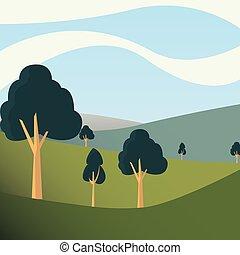 自然, 丘, 空, 木, 日, 風景