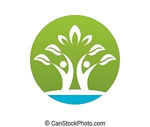 自然, 人々, ベクトル, 健康, テンプレート, ロゴ