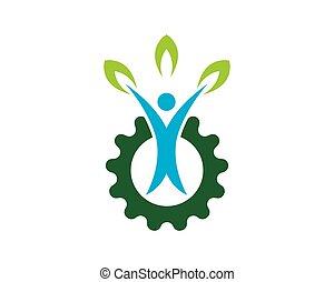 自然, 人々, 健康, ロゴ, ベクトル, テンプレート