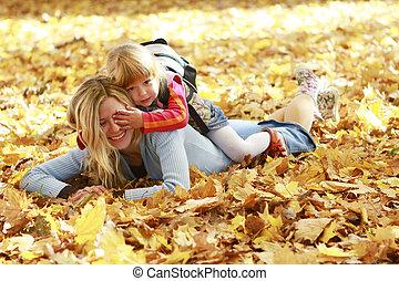 自然, 公園, 秋, 親, 赤ん坊, 幸せ