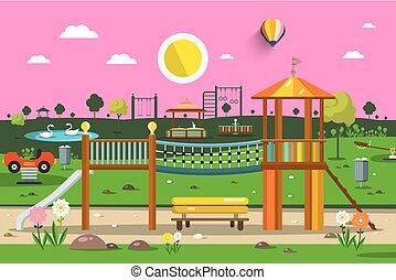 自然, 公園, scene., ベクトル, 日没, playground., 空