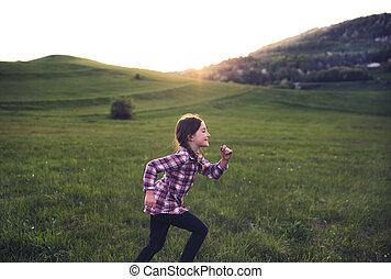 自然, 動くこと, 外, 小さい, 女の子, sunset.