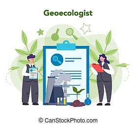 自然, 地球, 取得, 科学者, 心配, concept., 生態学者