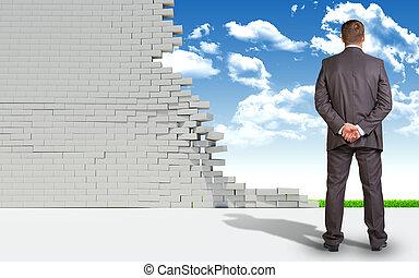 自然, 壁, 台無しにされる, ビジネスマン, れんが, 風景
