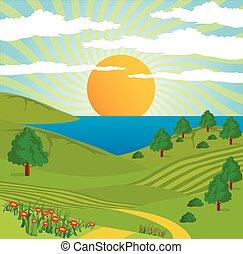 自然, 太陽, 摘要, 天空, 風景, 路