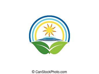 自然, 太陽, 浜, ロゴ, アイコン