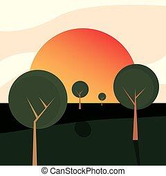 自然, 太陽, 空, 木, ラウンド, 風景