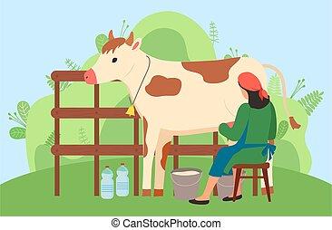 自然, 女, 牛, milkmaid, 田舎, 搾り出すこと, 仕事, 風景, 農夫, field.
