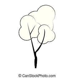 自然, 季節, 木, 隔離された, 秋, 黒, 白, 漫画