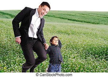 自然, 幸せ, 息子, 父の 時間