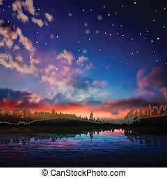 自然, 抽象的, 湖の 森林, 背景, 夜