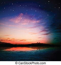 自然, 抽象的, 湖の 森林, 背景, 日の出