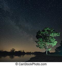 自然, 星が多い空, に対して, 風景, 背景, 夜, 川岸