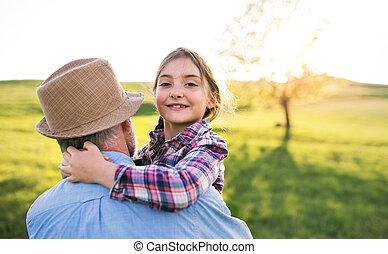 自然, 春, 祖父, 外, 小さい, 女の子, fun., 持つこと
