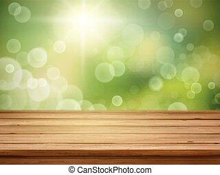 自然, 木製である, 上に, ぼんやりさせられた, 緑の背景, テーブル