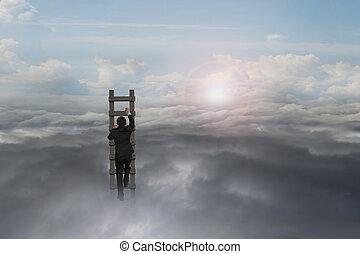 自然, 木製のはしご, 空, 日光, ビジネスマン, 上昇