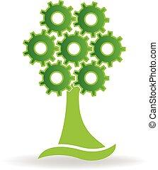 自然, 木, 健康, 緑, ギヤ, ロゴ