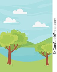 自然, 植物, 湖, 丘, 風景, 景色, 木