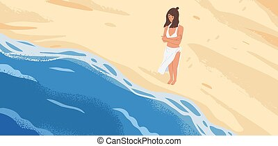 自然, 概念, 孤独, illustration., ビュー。, 立って見る, 漫画, 恐れ, 海景, 砂, 立ちなさい...
