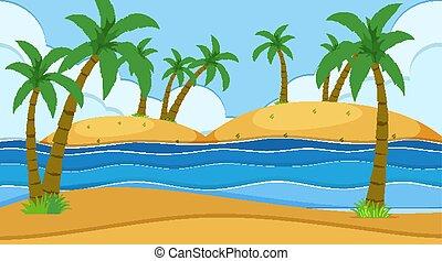 自然, 海洋, 空, 沿岸である, 浜, 風景