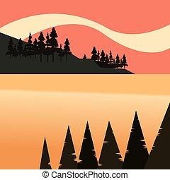 自然, 湖, 木, ベイ控え, 森林, 風景