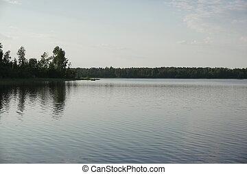 自然, 湖, 緑の森林, ロシア, 風景