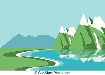 自然, 湖, 風景, アイコン
