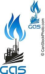 自然, 産業, ガス, 処理, アイコン
