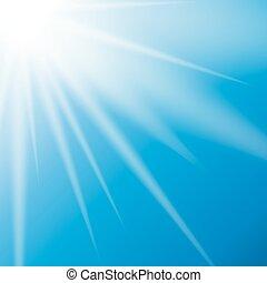 自然, 矢量, 陽光普照, 背景, 插圖