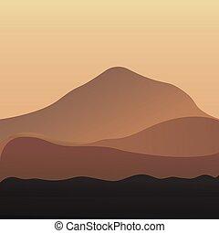 自然, 砂丘, エジプト人, イラスト, バックグラウンド。, 砂, ベクトル, 砂漠の 景色
