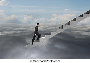 自然, 空, 曇り, コンクリート, ビジネスマン, 登山階段