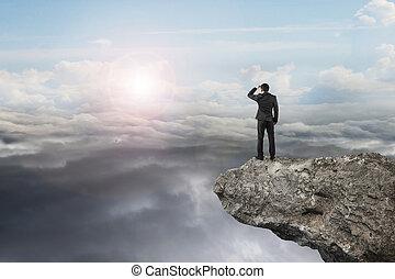 自然, 空, 見る, 日光, cloudscap, ビジネスマン, 崖