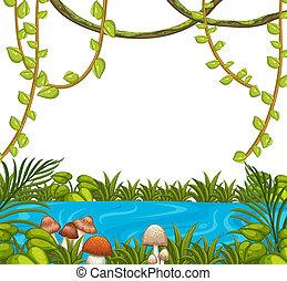 自然, 緑, テンプレート, ブランク