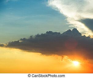 自然, 背景, ......的, a, 藍色的天空, 由于, 云霧