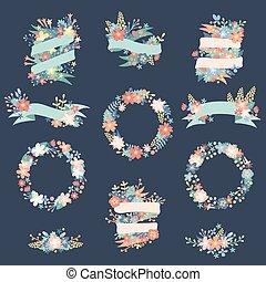 自然, 花輪, 花, 群葉, 花, リボン