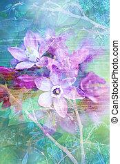 自然, 花, グランジ, 美しい, 芸術的, 背景