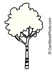 自然, 葉, 木, 隔離された, 黒, 白, 漫画