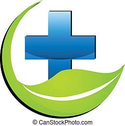 自然, 薬, シンボル, ロゴ