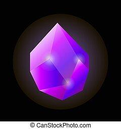 自然, 隔離された, イラスト, 水晶, 明るい, すみれ, 光沢がある, 切られていない
