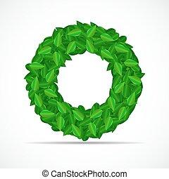 自然, 離開, 插圖, 背景。, 矢量, 綠色