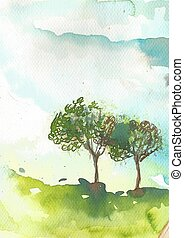 自然, 風景, 農地, 草木の栽培場, 木
