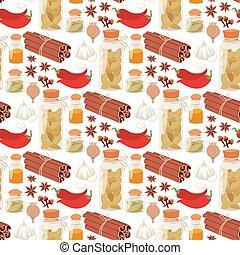 自然, 香辛料, バックグラウンド。, 調味料, パターン, seamless, ハーブ, ベクトル, 食物, 野菜, 有機体である, スパイス, 健康, 成分