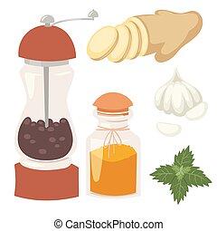 自然, 香辛料, 調味料, ハーブ, ベクトル, 食物, 野菜, 有機体である, ingredient., スパイス, 健康