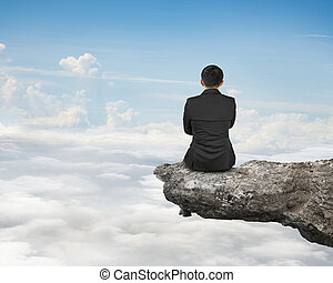 自然, cloudsca, モデル, 空, ビジネスマン, 崖, 後部光景